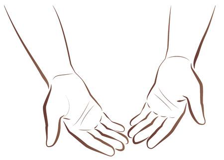 hombre pobre: Con las manos vac�as. Dos manos de un pobre hombre que muestra sus manos vac�as. Ilustraci�n del esquema aislada en el fondo blanco.