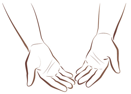 beg: Empty-handed. Two hands of a poor man showing his empty hands. Isolated  outline illustration on white background.
