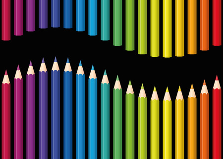 compilation: Colored pencils or crayons as a rainbow colored wave. Seamless background can be created in all directions. Isolated  illustration on black background.