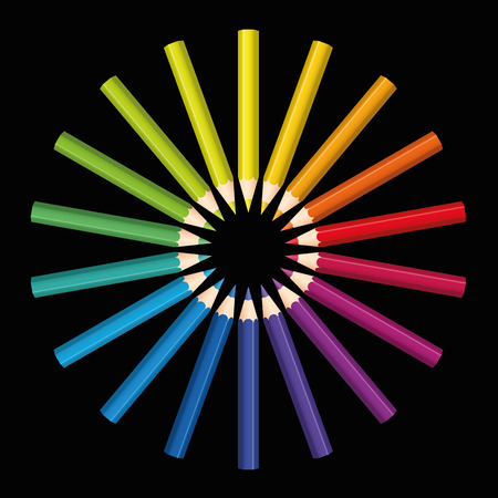 black circle: Colored pencils that form a rainbow colored flower or sun. Isolated  illustration on black background.