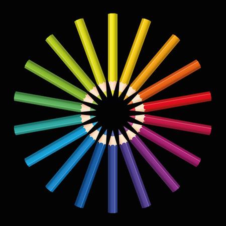 amarillo y negro: L�pices que forman una flor de color arco iris o el sol de colores. Ilustraci�n aislada sobre fondo negro.