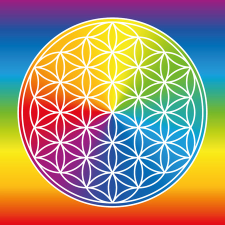Flower of Life represented as a luminous rainbow color wheel.  Illustration
