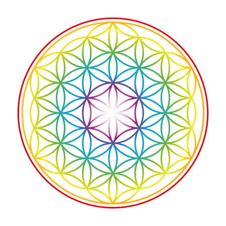 Flower of Life shown as an gently glowing rainbow colored symbol of harmony. Isolated illustration on white background.