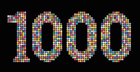 Nummer 1000, bestehend aus genau tausend bunte Partikel wie Murmeln, Perlen oder Kugeln - isolierte Darstellung auf schwarzem Hintergrund.