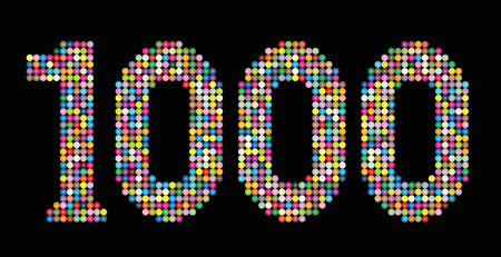 Number 1000 consisting of exactly one thousand colorful particles such as marbles, beads or balls - isolated illustration on black background.