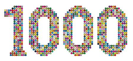 counted: THOUSAND - composed of exactly one thousand colorful balls- isolated illustration on white background.