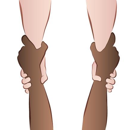 interracial: Cooperaci�n Interracial - ahorro de las manos - apret�n de rescate. Ilustraci�n aislada en el fondo blanco.