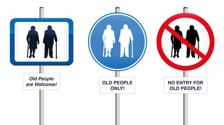 old people in care: Old People- Three road signs, that welcome old people or that try to keep them away. Isolated  illustration on white background. Illustration