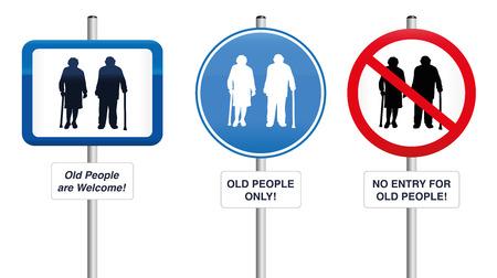 pensionado: Señales de tráfico Antiguo gente- Tres, que acogen a las personas mayores o que tratan de mantenerlos alejados. Ilustración aislada en el fondo blanco. Vectores