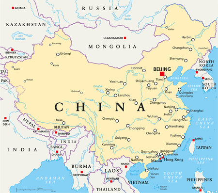 China political map with capital Beijing, national borders, important cities, rivers and lakes. English labeling and scaling. Illustration.