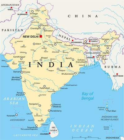 India political map with capital New Delhi, national borders, important cities, rivers and lakes. English labeling and scaling. Illustration.