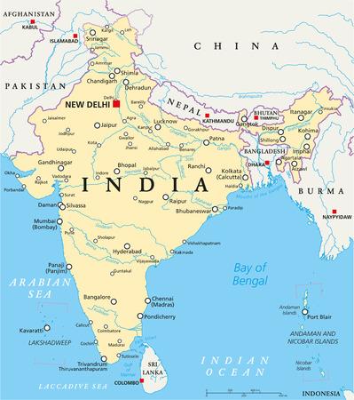 Politische Karte Indiens mit der Hauptstadt Neu-Delhi, die nationalen Grenzen, wichtige Städte, Flüsse und Seen. Englisch Beschriftung und Skalierung. Illustration.