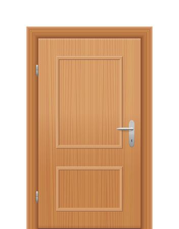 manejar: Puerta de madera habitación - que se abrirá cuando la mano derecha inversa. ilustración vectorial aislados en fondo blanco. Vectores
