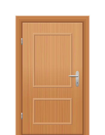 handles: Wooden room door - to be opened as right hand reverse. Isolated vector illustration on white background. Illustration