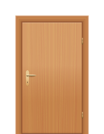 Wooden room door, closed. Isolated vector illustration on white background. Stock Illustratie