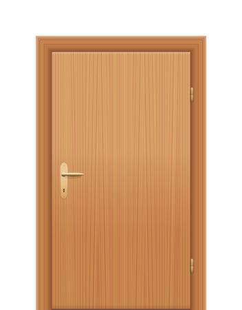Houten deur, gesloten. Geïsoleerde vector illustratie op een witte achtergrond.