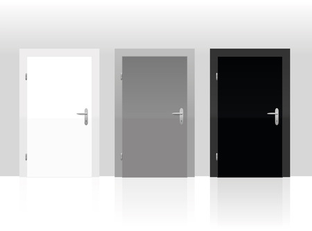 Three doors to choose - white, gray or black. Vector illustration. Stok Fotoğraf - 43849041