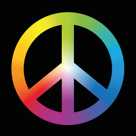 disarmament: Peace sign with circular rainbow gradient coloring. Vector illustration on black background.