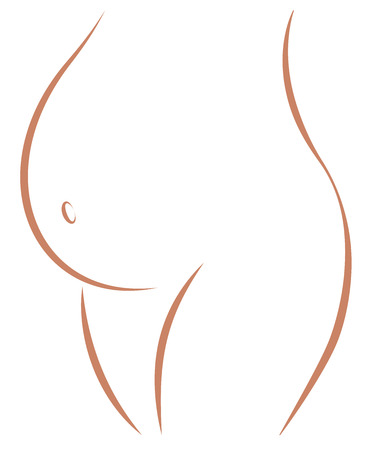 Pregnant woman belly with navel icon. Isolated outline vector illustration on white background.