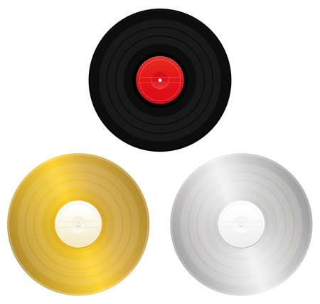 gold record: Records - black, gold, silver or platinum record for award or certification. Isolated vector illustration on white background.
