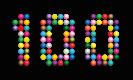 counted: Number 100 consisting of exactly one hundred colorful particles such as marbles, beads or balls Illustration