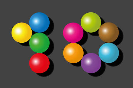 number 10: Number 10 consisting of exactly ten colorful items such as marbles, beads or balls - vector illustration on black background.