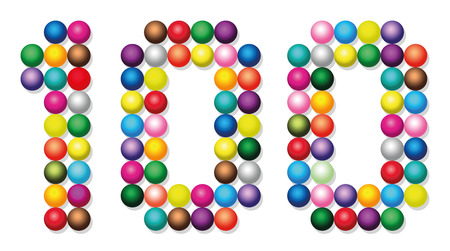 counted: HUNDRED - composed of exactly one hundred colorful balls