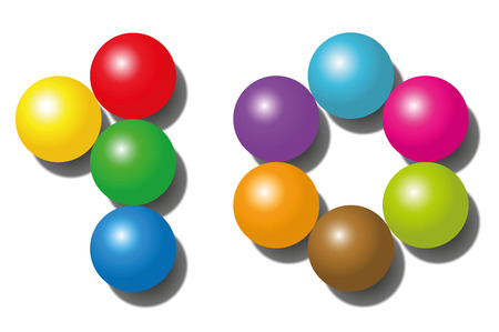 counted: TEN - composed of exactly ten colorful balls - isolated vector illustration on white background.