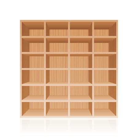 cubby: Rack or bookshelf - wooden texture optic - with twenty four empty cubbyholes. Isolated vector illustration on white background.