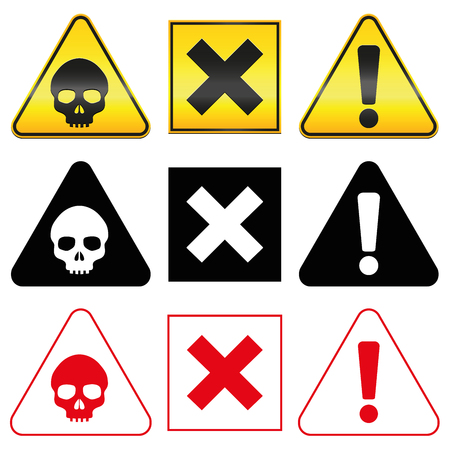 issue: Warning hazard symbols - skull, cross and exclamation mark in yellow, red and black version. Isolated vector illustration on white background.