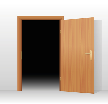 angst: Wide open door to a dark unlit room. Vector illustration.