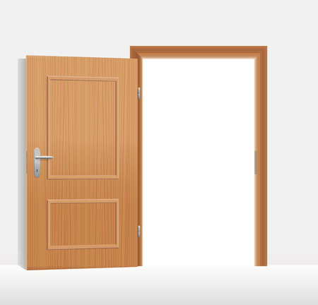 Open door to a bright white room. Vector illustration.