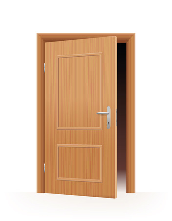 Ajar door - wooden optic - dark room inside. Vector illustration on off-white to white gradient background.