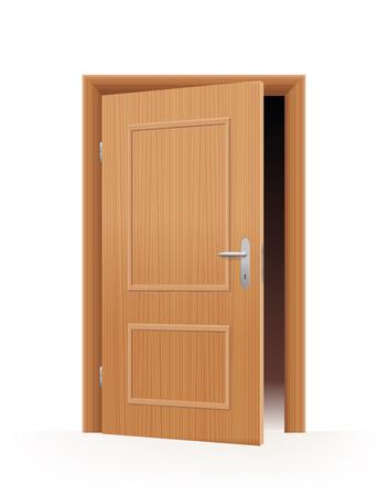 Ajar door - wooden optic - dark room inside. Vector illustration on off-white to white gradient background.