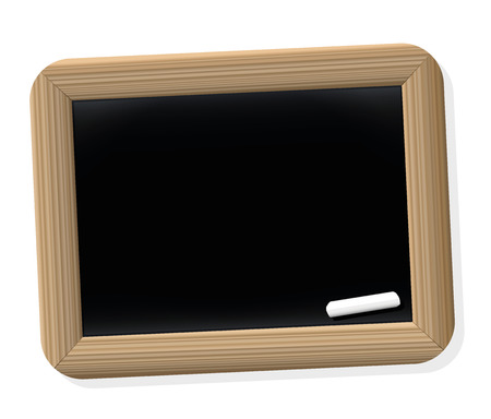 antiquated: Chalkboard tablet - blank slate in vintage style from ancient school times. Isolated vector illustration on white background.