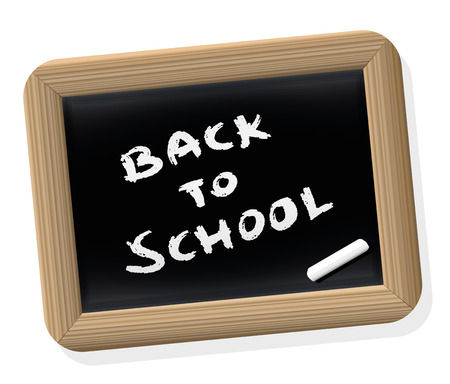 written: BACK TO SCHOOL - written on a retro styled slate tablet with blackboard chalk. Isolated vector illustration on white background. Illustration