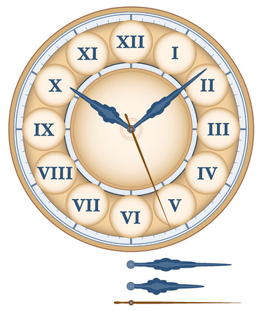 numerals: Clock face as part of an analog clock with roman numerals. Isolated vector illustration on white background.