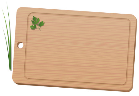 Cutting board with parsley and chives. Isolated vector illustration on white background. Ilustracja