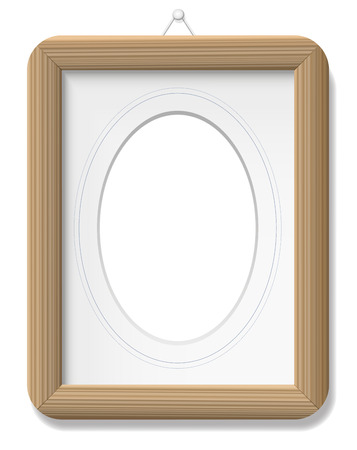 hang up: Photo frame - wooden vintage style with mat and french lines. Isolated vector illustration on white background. Illustration