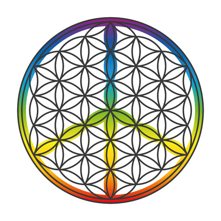disarmament: Flower of life and peace sign combined into one symbol. Isolated vector illustration on white background. Illustration
