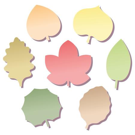 feuille arbre: Laissez Feuillets forme en sept couleurs d'automne différentes. Isolated illustration vectorielle sur fond blanc. Illustration