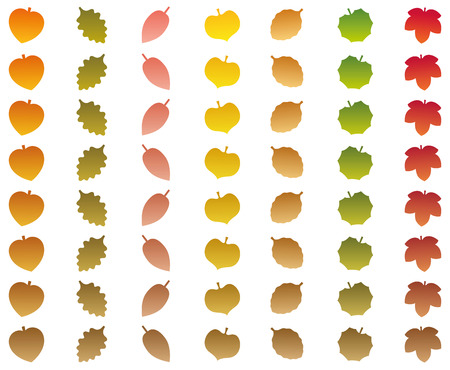 withered: Leaves that change from autumn colors into withered brown color while falling off. Isolated vector illustration on white background.