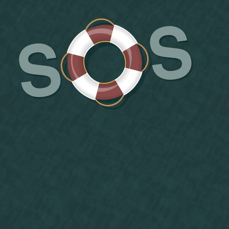 Lifebelt floating on ocean water forming the signal SOS. Vector illustration.