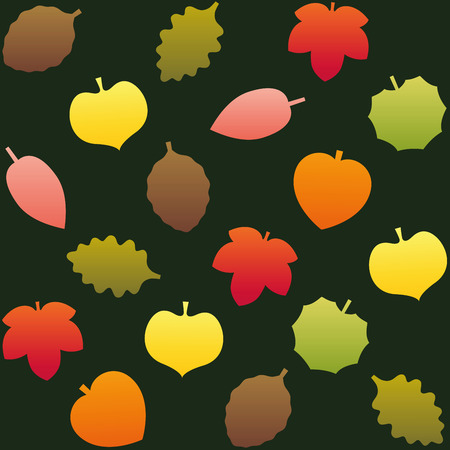 dark green background: Fall leafs pattern. Seamless background can be created. Isolated vector illustration on dark green background.