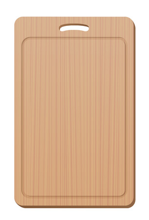 grip: Wooden cutting board with grip - blank, simple, upright. Isolated vector illustration over white background.