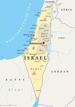 mapa politico: Mapa político de Israel con los de capital Jerusalén, las fronteras nacionales, ciudades importantes, ríos y lagos. Etiquetado y escalado Inglés. Ilustración. Vectores