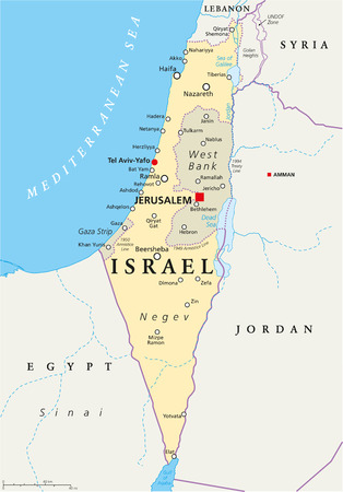 Israel political map with capital Jerusalem, national borders, important cities, rivers and lakes. English labeling and scaling. Illustration.