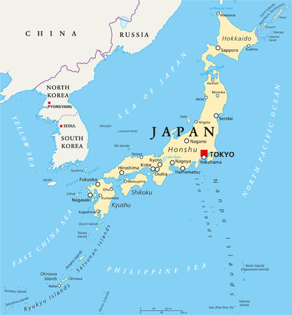 Japan political map with capital Tokyo, national borders and important cities. English labeling and scaling. Illustration. Illustration