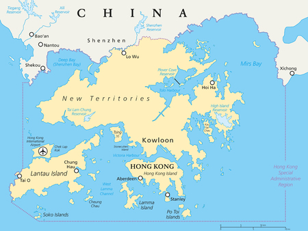 香港とその周辺の政治地図。世界金融の中心地、中国広東省の特別行政区。英語ラベルとスケーリングします。イラスト。  イラスト・ベクター素材