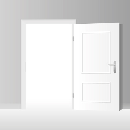 go inside: Wide open white door to a bright white room.  Illustration